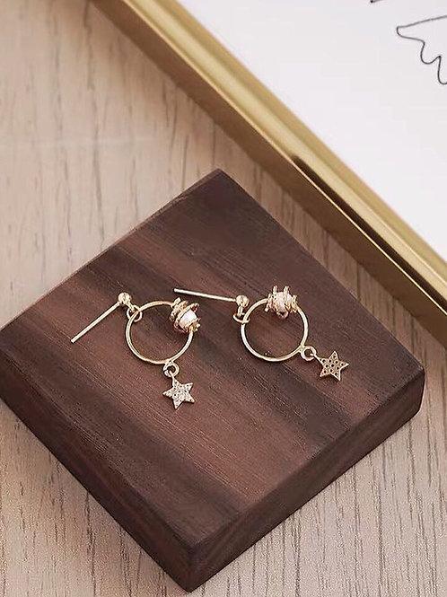 韓風金屬星星耳環 (925銀針/耳夾)