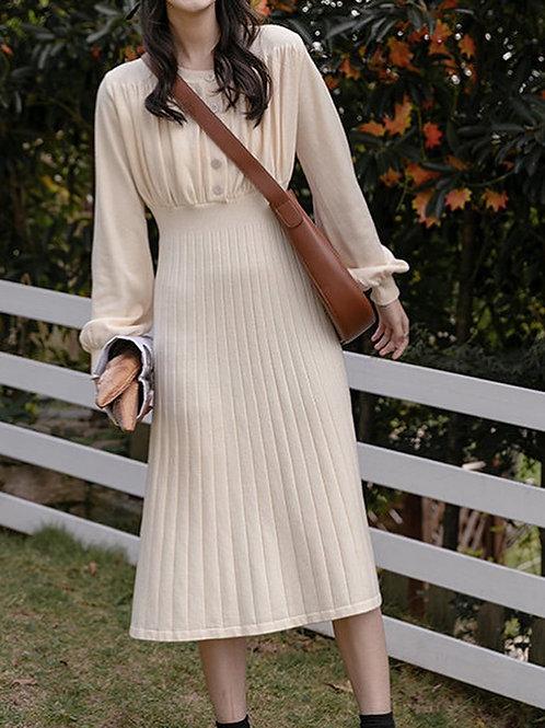SH641 簡約針織燈籠袖連身裙