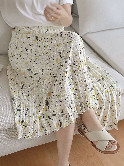 SH990 斑彩印花百褶休閒裙