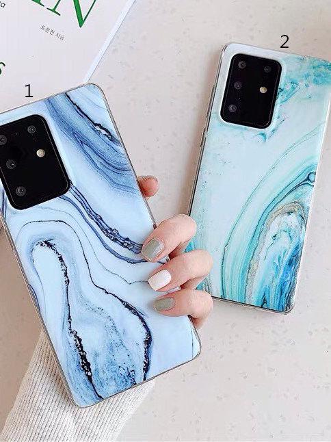 SC013藍色大理石紋包邊軟殻