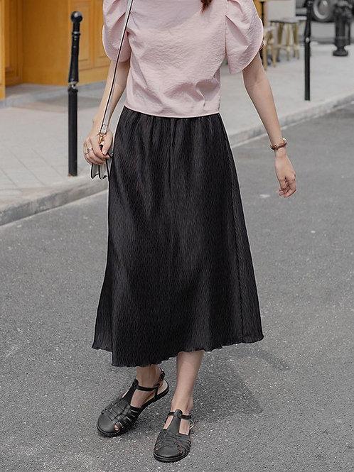 SH873 純色壓紋百搭裙