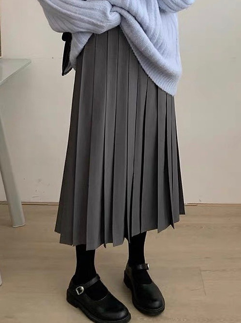 SH732 氣質百褶純色半身裙