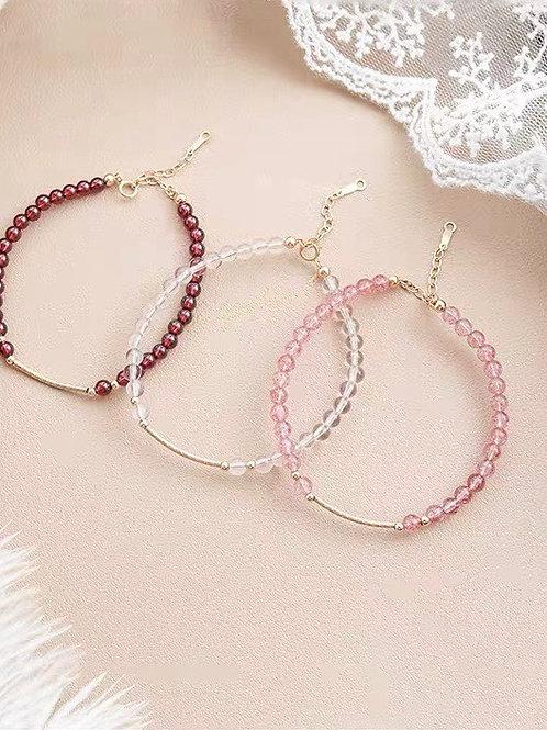 CR045 草莓晶/紅瑪瑙/白水晶手鍊(自選)