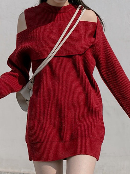 SH750 設計感條文針織連身裙