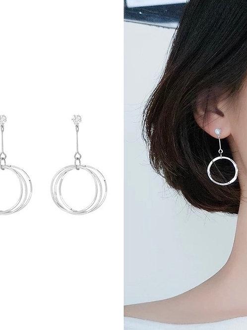線條圓圈耳環(925銀針)