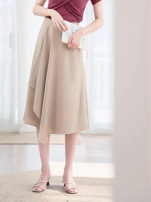 純色荷葉邊半身裙