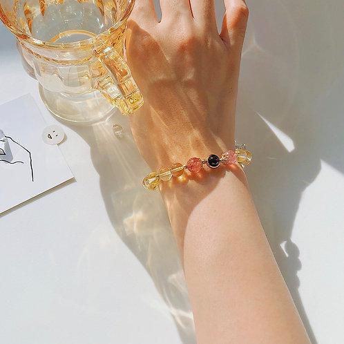 CR089【招財提升愛情運】黃水晶草莓晶手鍊