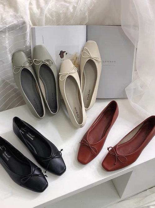 SE337 純色簡約蝴蝶結平底鞋