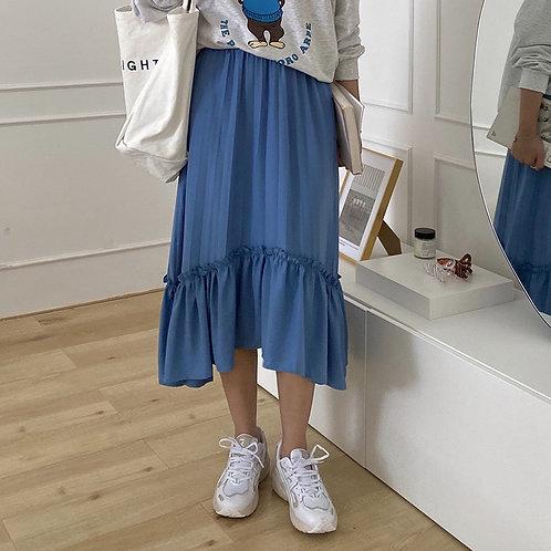 SH482 木耳邊仙氣純色半身裙