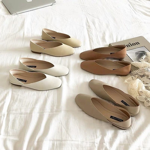 SE103 象牙系純色平底鞋