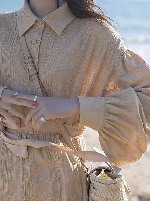 SH783 復古皺皺氣質休閒連身裙