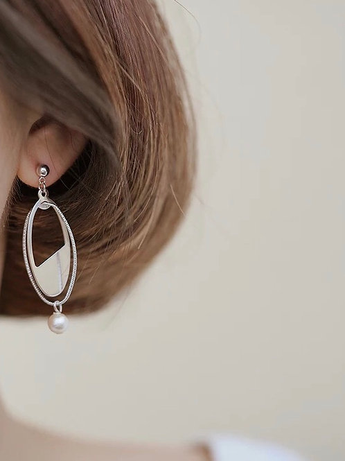 幾何線條感耳環(925銀針)