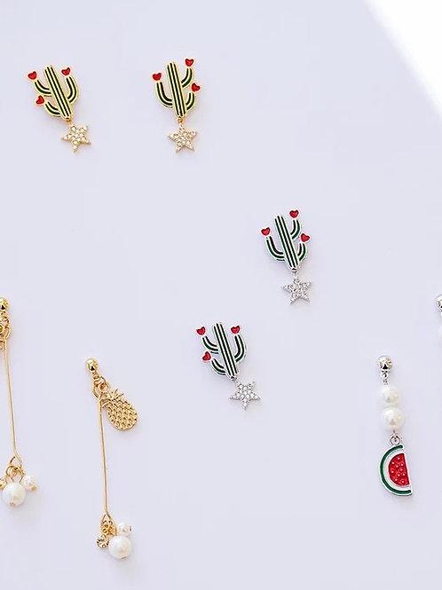 精緻森系水果925銀針耳環