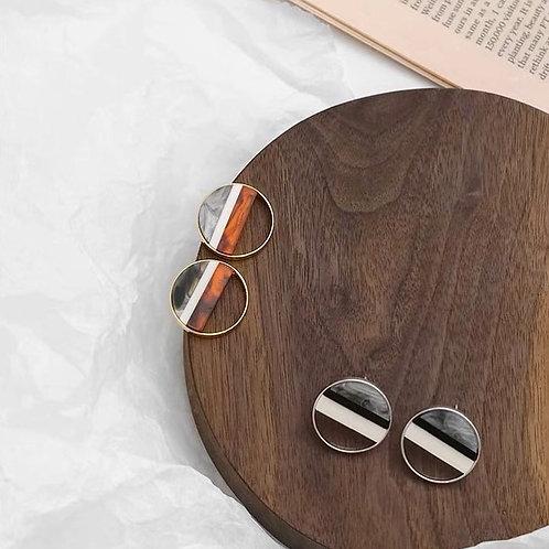 設計感圓形復古耳環(925銀針)