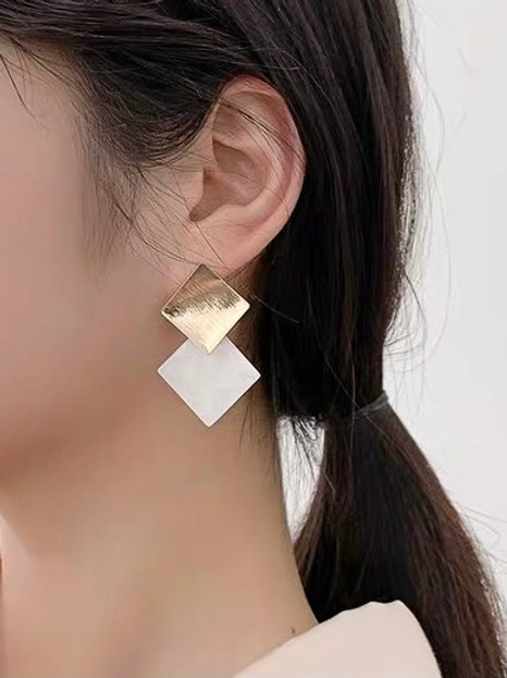 ER031 層疊幾何氣質耳環(925銀針/耳夾)
