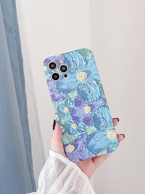 CS795油畫紫藍花朵包邊軟殻