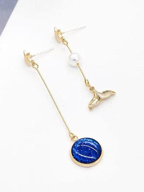 海洋系魚尾耳環(925銀針/耳夾)