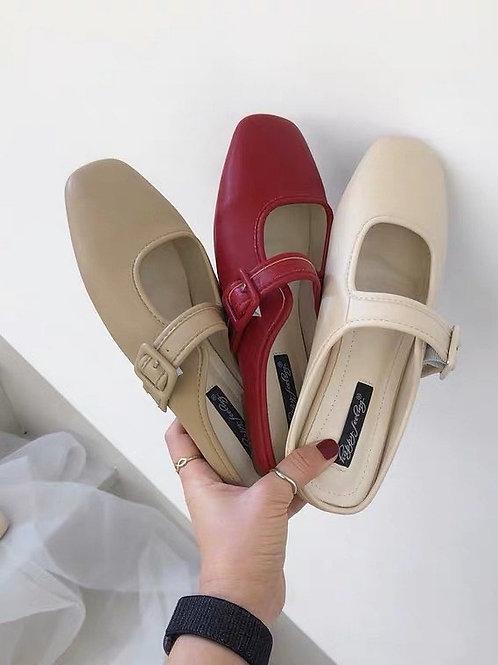SE288 復古純色百搭平底拖鞋