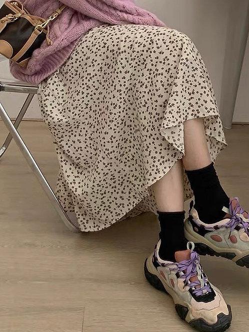 SH607 韓版加絨碎花半身裙