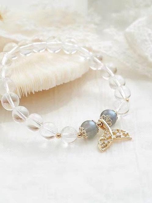 CR141 「記憶/抗抑鬱」白水晶灰色月光石手鍊