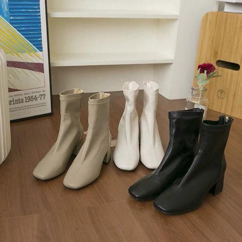 SH210 韓版粗高跟拉鍊靴