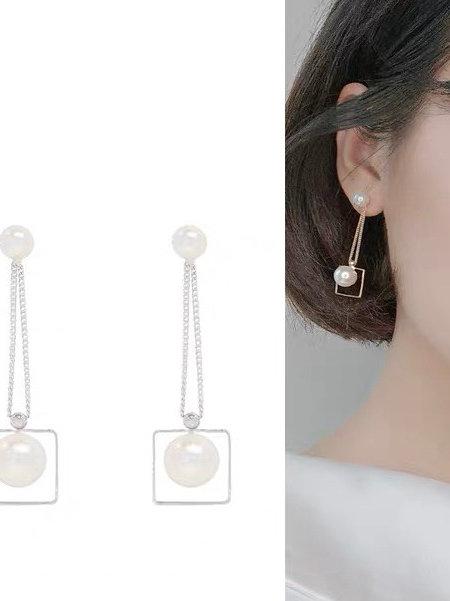 ER032 幾何珠珠氣質耳環(925銀針/耳夾)