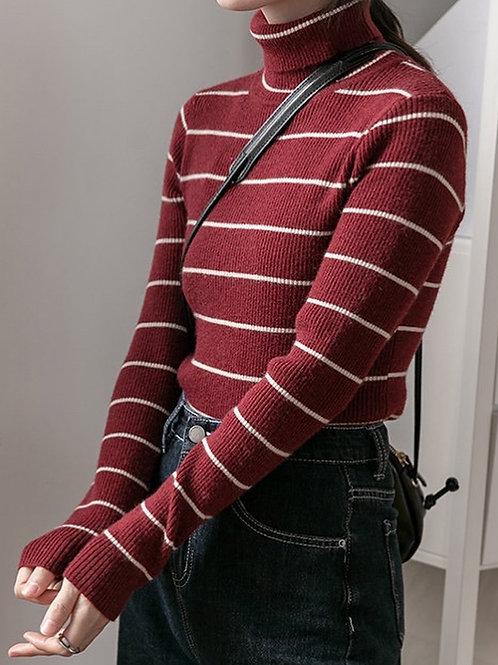 SH658 高領條紋針織上衣