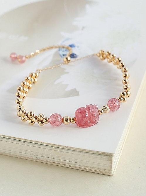 CR094 「愛情之石」草莓晶貔貅手鍊