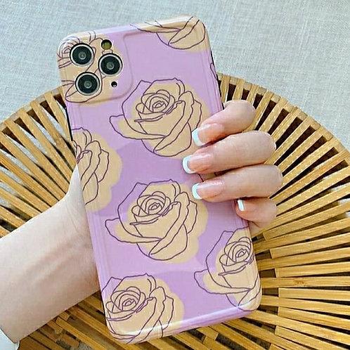 CS069紫色玫瑰包邊軟殼