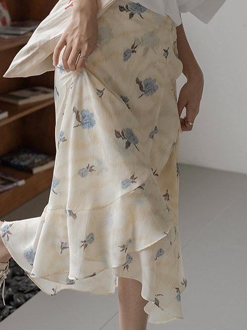 SH295 仙氣碎花荷葉邊裙