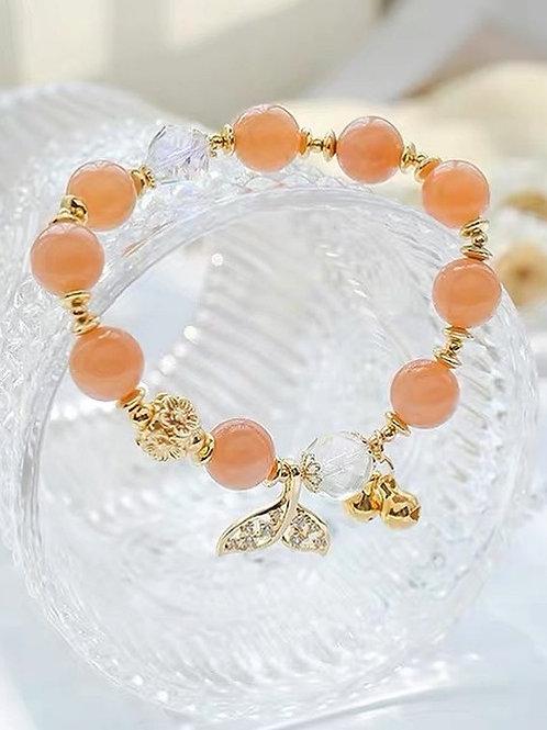CR108「情商之石」橙色月光石手鍊