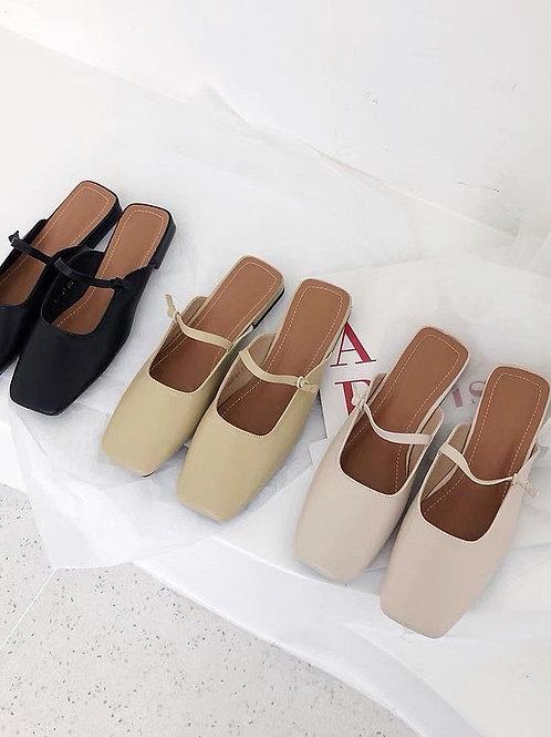 SE319 韓版簡約一字帶拖鞋