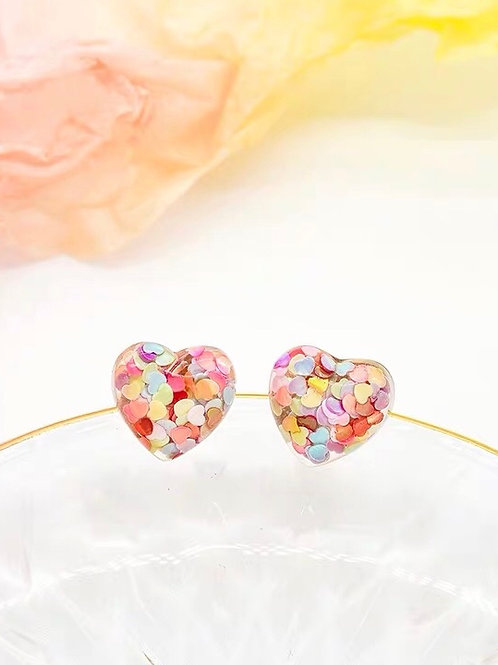 別緻糖果愛心耳環(925銀針/耳夾)