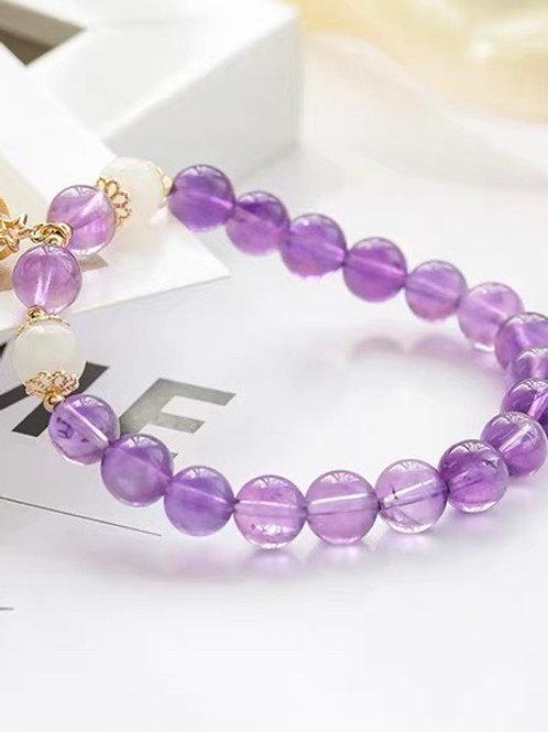 CR132 「安神作用助學業」紫水晶手鏈