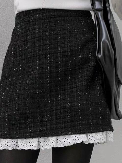 SH709 復古拼接A字半身裙