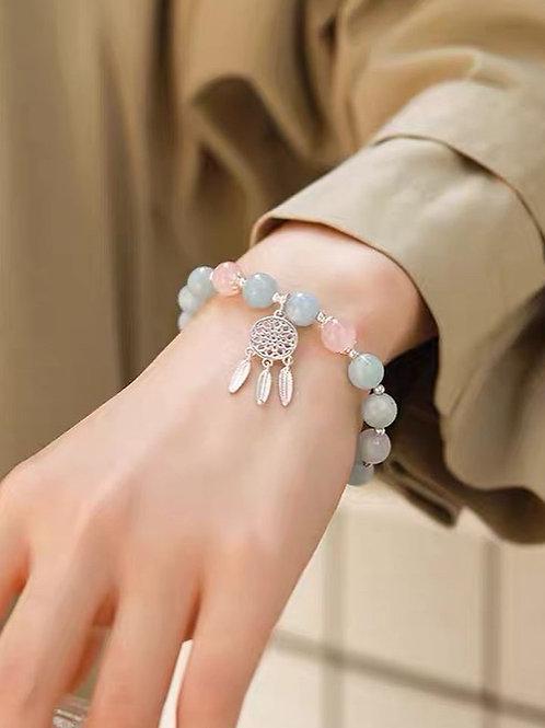 CR159 「自信/人緣」海藍寶粉晶手鍊