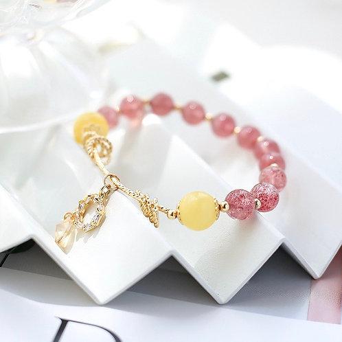 CR101「防小人/旺愛情之石」蜜蠟草莓晶手鍊