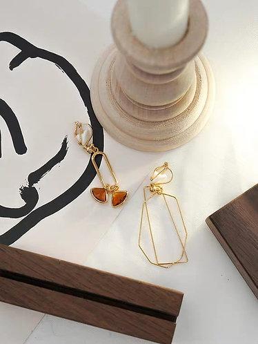 幾何不規則耳環(925銀針/耳夾)