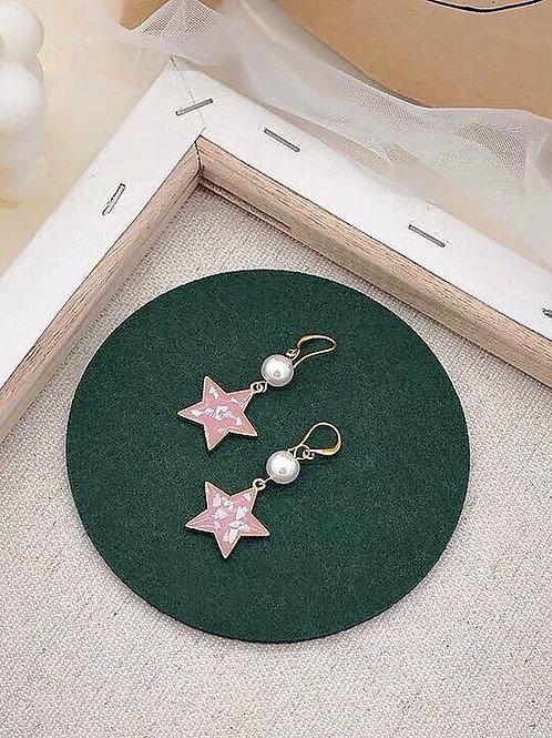 可愛珍珠星星耳環 (925銀針/耳夾)