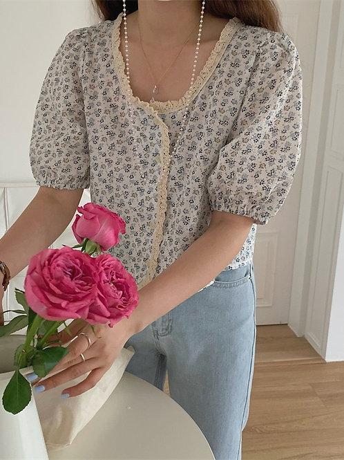 SH951 小清新碎花蕾絲花邊衫
