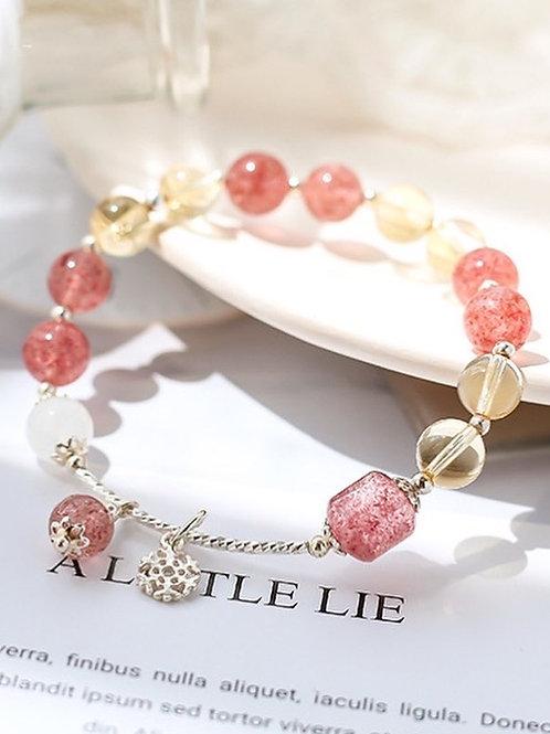 CR135 「財運/愛情運」草莓晶黃水晶手鍊