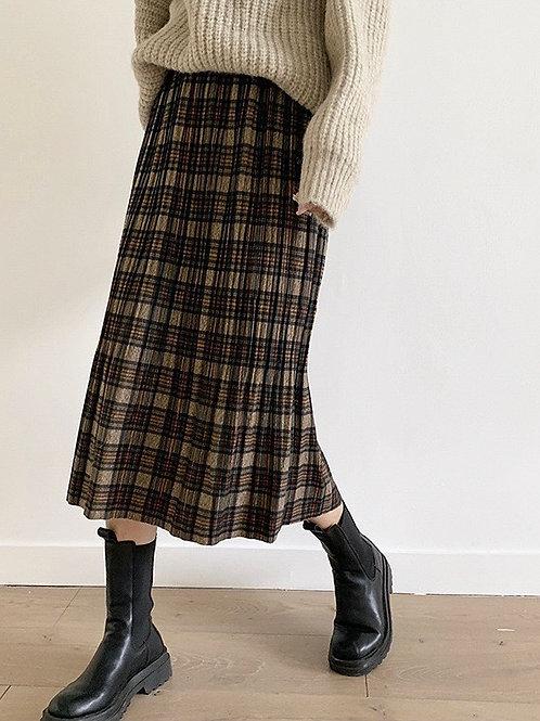 SH743 復古格子百褶半身裙