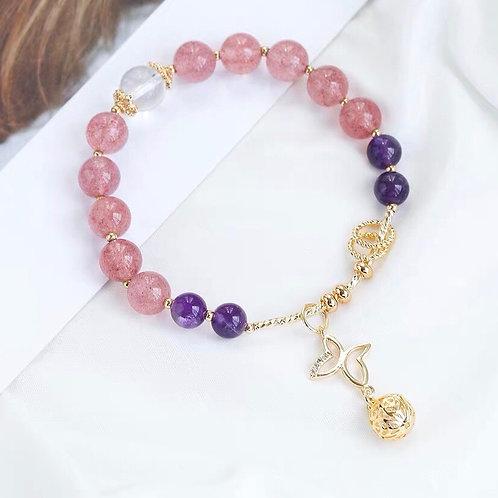 蝴蝶繡球草莓晶紫水晶手鏈