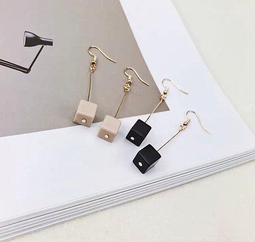 韓風簡約方塊耳環 (925銀針/耳夾)