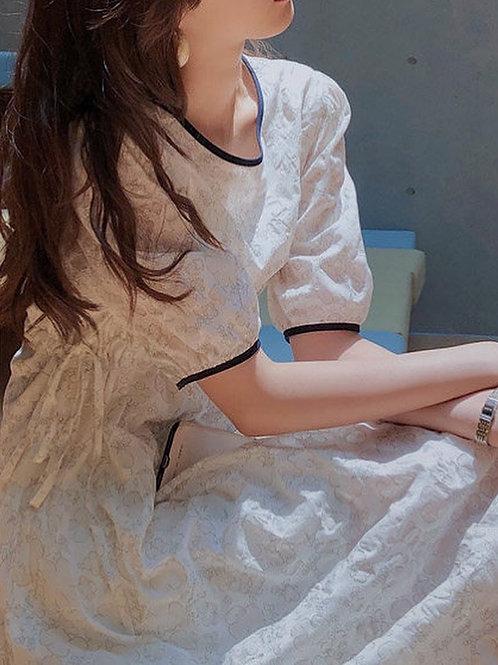 SH231 仙氣花朵撞色連身裙