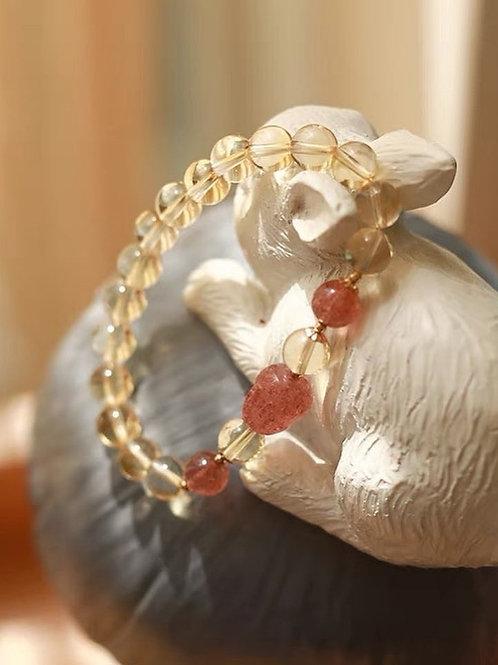 CR153 「招財轉運」草莓晶黃水晶手鏈