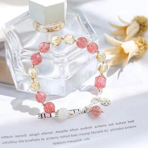 CR114 「聚財/愛情運」黃水晶草莓晶手鍊