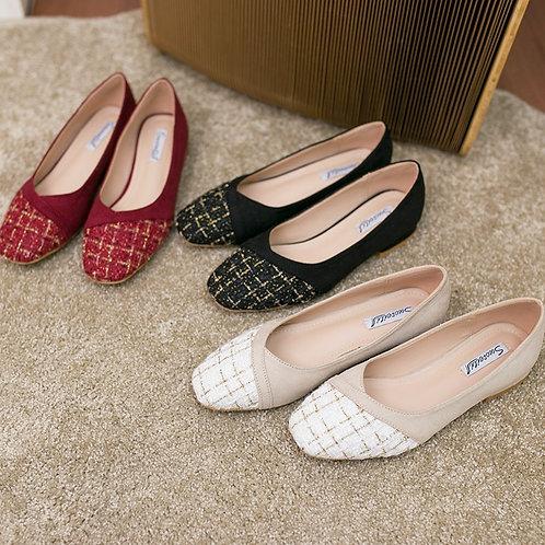 SE195 拼色布藝平底鞋