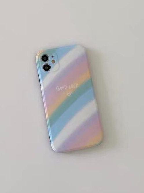 CS453韓風彩虹條紋包邊軟殻