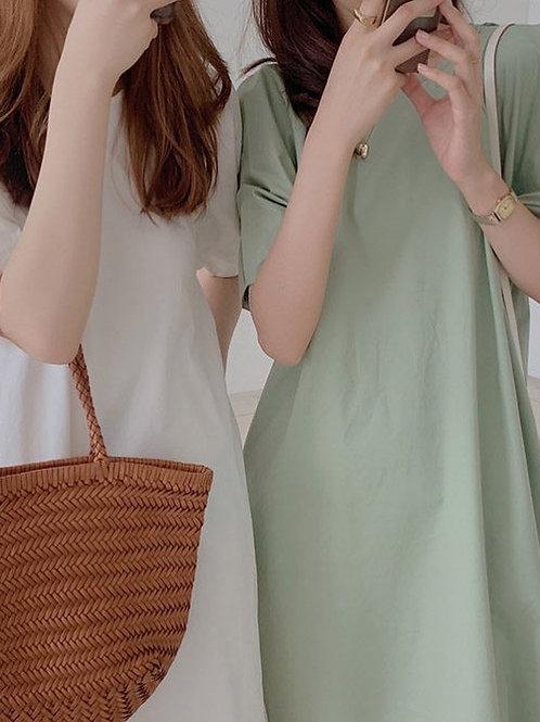 SH106 韓系泡泡袖連衣裙